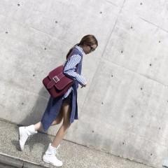 秋装韩版港味学生慵懒chic宽松长袖蓝竖条纹衬衫上衣女