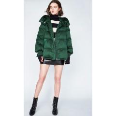 DAZZLE地素 新款 纯色连帽时尚拉链外套加厚鸭绒羽绒服