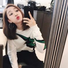 秋季新款2017韩版套头闪电毛衣女宽松圆领白色针织衫薄